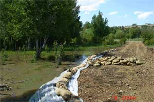 Sandbags used along Ahtanum Creek during the 2006 flood to prevent channel avulsion.