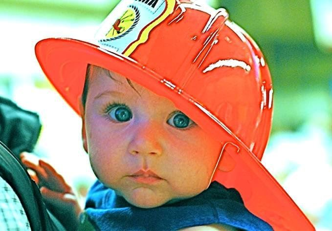 Baby Boy in Firefighter Hat